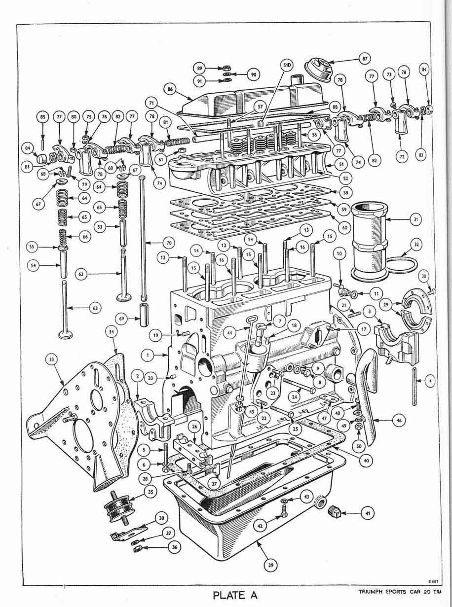 Revington Tr Tr4 Plate A Engine Cylinder Block And