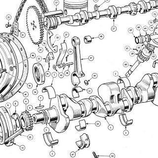 ENGINE (Petrol Injection Model): Crankshaft, Camshaft, Pistons and Flywheel Crankshaft Assembly, Fan Assembly, Flywheel Assembly, Camshaft, Timing Cover Assembly, COnnecting Rod Assembly, Piston Assembly, Drive Shaft Assembly, Pedestal Assembly - Distributor and Petrol Injection Metering Pump