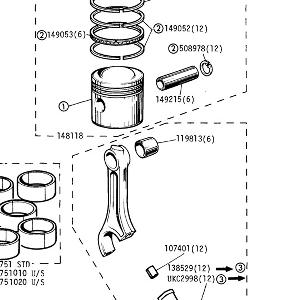 ENGINE (CARBURETTOR MODELS) Pistons and Conn Rods