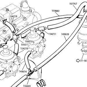 ENGINE (CARBURETTOR MODELS) Emmission breathing details