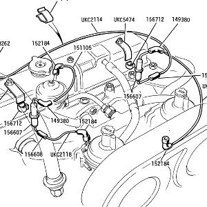 ENGINE (CARBURETTOR MODELS) Auto Ignition Vacuum Pipes from Commission No. CF35001 (20-29 for previous)