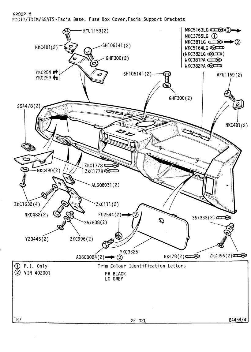 revington tr - tr7 plate 2f-02l - facia  trim  seats