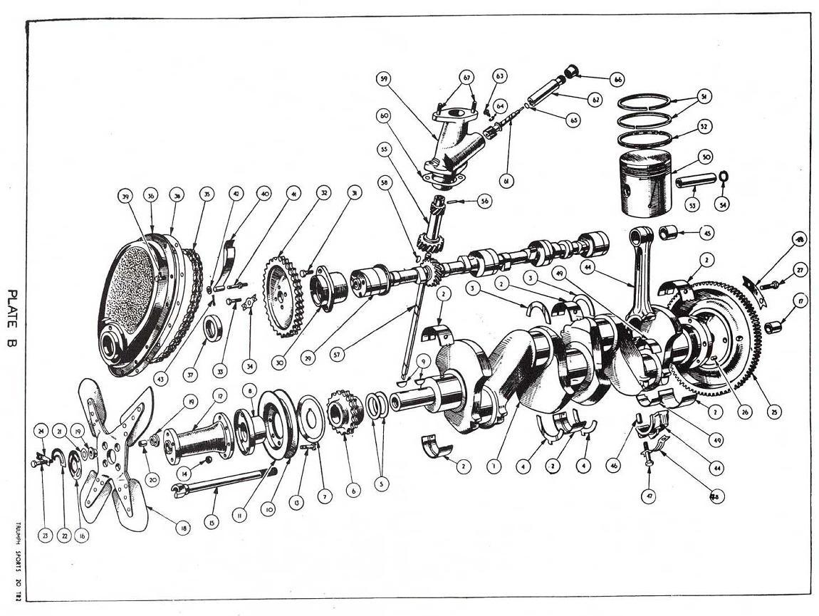 revington tr - tr2 plate b - engine: crank, pistons ... 40 ford engine diagram crankshaft 1989 302 ford engine diagram