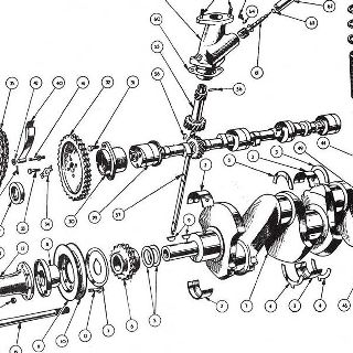 ENGINE: CRANK, PISTONS, CONNECTING RODS AND FLYWHEEL.