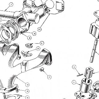 ENGINE: OIL PUMP, INLET AND EXHAUST MANIFOLDS.