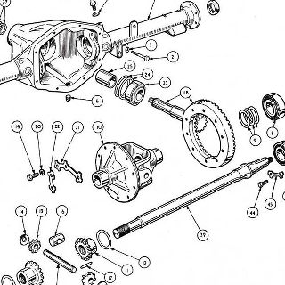 REAR AXLE: LATE 'GIRLING TYPE' 6 BOLT MOUNTING.
