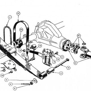 REAR SUSPENSION, PROPELLOR SHAFT AND ROAD WHEELS.