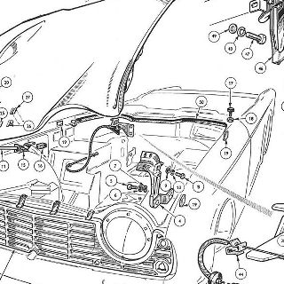 BODY AND FITTINGS: GRILL, BONNET AND BONNET FASTENER DETAILS, MEDALLION.