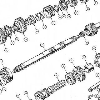 GEARBOX: MAINSHAFT, CONSTANT PINION SHAFT, COUNTERSHAFT AND REVERSE GEAR.