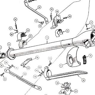 BODY AND FITTINGS: STEERING COLUMN COWL AND SUPPORT DETAILS.