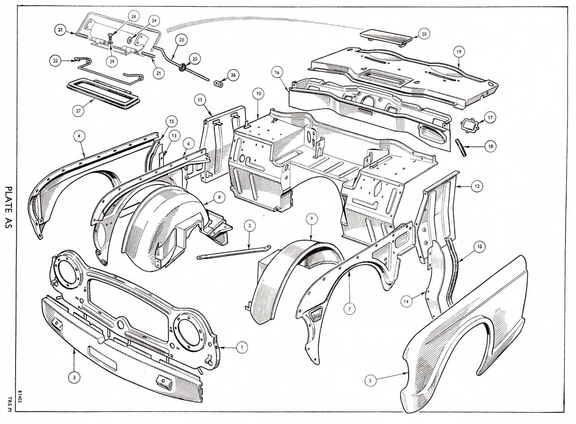 Revington TR - TR5 Plate AS - BODY AND FITTINGS: FRONT VALANCE