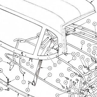 BODY AND FITTINGS: HOOD STICKS AND HOOD COVER. CATCHES, RUBBERS AND STOWAGE COVER