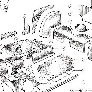 BODY AND FITTINGS: CARPETS, REAR AND QUARTER CASINGS, PETROL TANK AND TRUNK FLOOR COVER