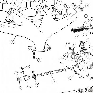 ENGINE: INLET AND EXHAUST MANIFOLDS. HEATER PIPE