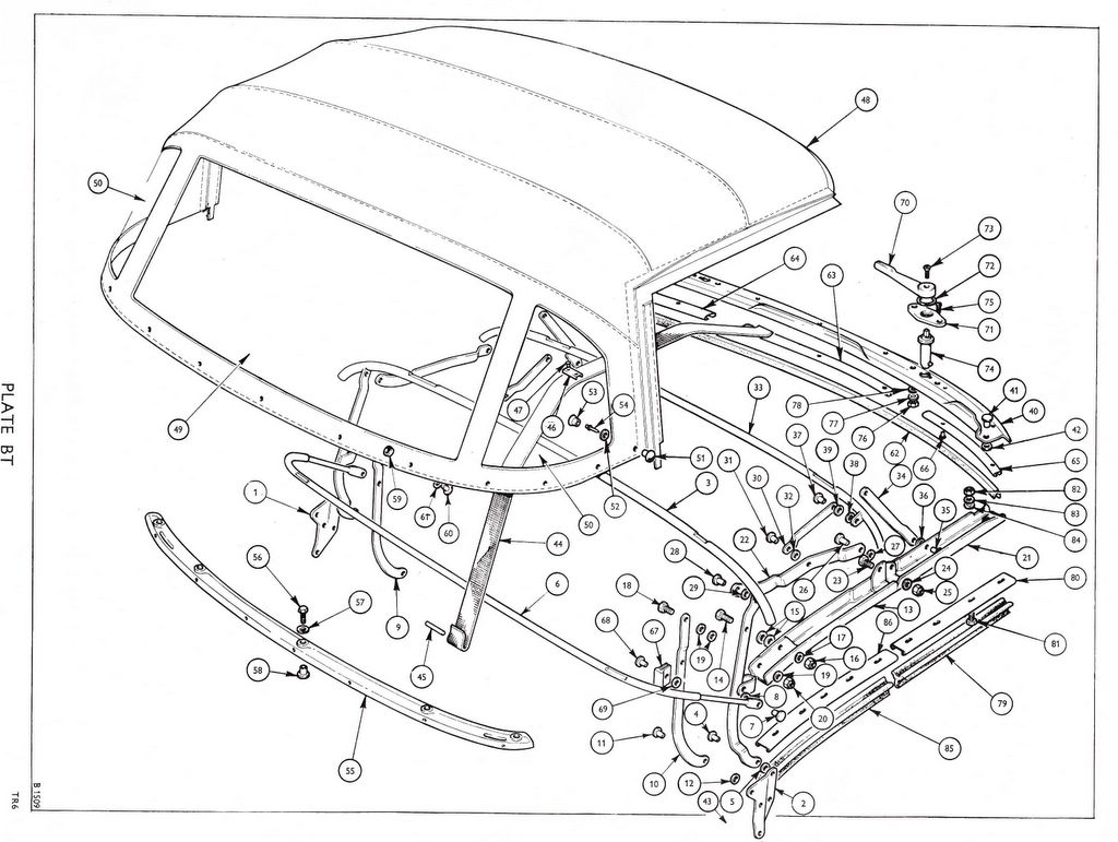 Revington TR - TR6CP Plate BT - BODY AND FITTINGS: Hood