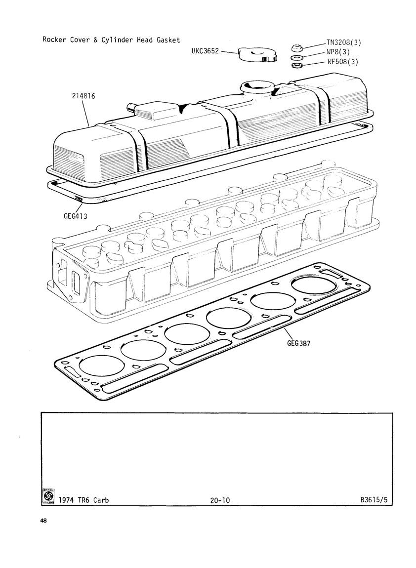 Revington TR - TR6CF Plate 20-10 - ENGINE (CARBURETTOR MODELS) for