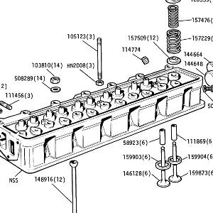 ENGINE (CARB MODELS) Cylinder Head Valve Gear, Camshaft Followers, Push Rods, Core Plugs and Studs