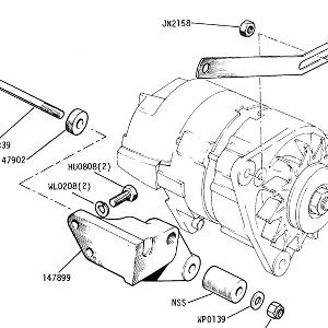 ENGINE (CARB MODELS) Alternator Mountings Up to Commission No. CF35000 (see 20-32 for future)