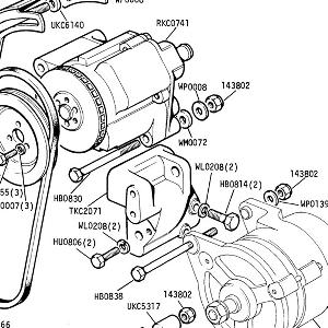 ENGINE (CARB MODELS) Alternator & Air Pump Mountings from Commission No. CF35001 (see 20-31 for previous)