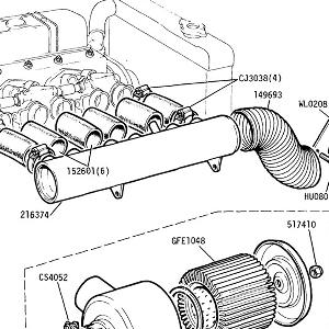 ENGINE (P.I. MODELS) Air Manifold Assembly, joining tubes to throttle bodies & Air Filter Assembly