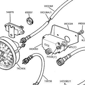 ELECTRICAL EQUIPMENT USA ONLY Speedometer & Cables USA Comm № CF35001 onward (see 21-72 for previous)