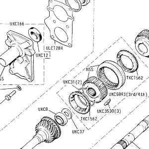 5 SPEED GEARBOX - Front Cover, Mainshaft, Constant Pinion Shaft (up to Gearbox No. CL.22476C