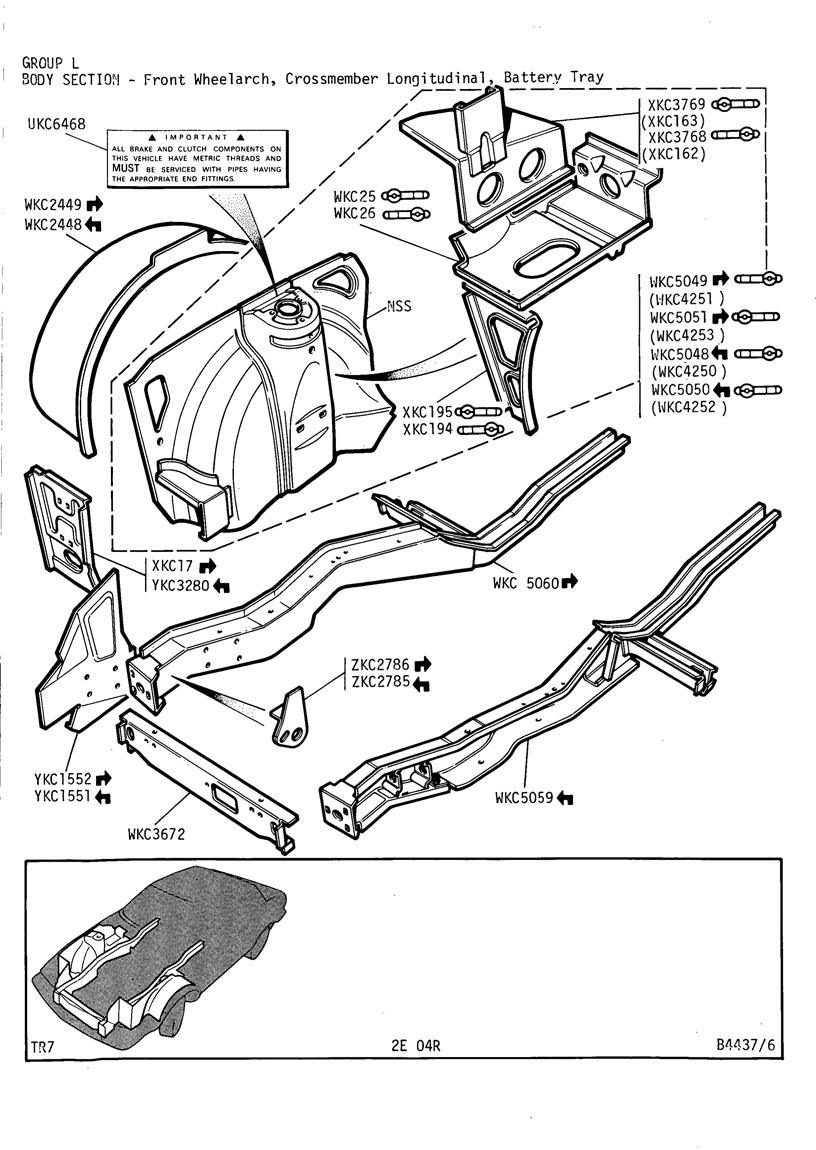 revington tr - tr7 plate 2e-04r - body section